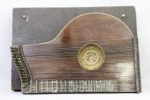Antique Zither in Case with Handmade Quilt