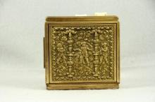Antique Cigarette Case Two Sided Gold Plated Renaissance Cherubs