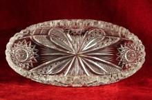 American Brilliant Glass Oval Dish Signed Egginton Hobstar Bow Geometric
