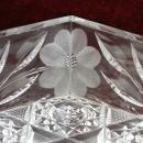 American Brilliant Cut Glass Dish with handles Floral Leaves and Hobstar