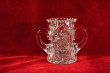 ABP Cut Glass Vase Two Handled Spooner  Rim Hobstar Fans and Radiant Base