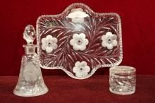 ABP Glass Jewel Dresser Set Primrose Pattern Tray Perfume Bottle Powder Jar