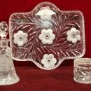 ABP Glass Jewel Dresser Set Primrose Pattern Tray Perfume Bottle Powder Jar