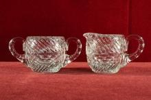 Glass Creamer and Sugar Bowl with notched handles