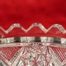 American Brilliant  Glass Candy Dish Hobstar Geometric Patterns  Saw tooth Rim Dazzling