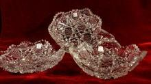 Glass Dishes Relish Leaf Shape Saw Tooth Rim Hobstar Three