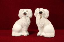 Staffordshire Poodle Dogs  White Pair