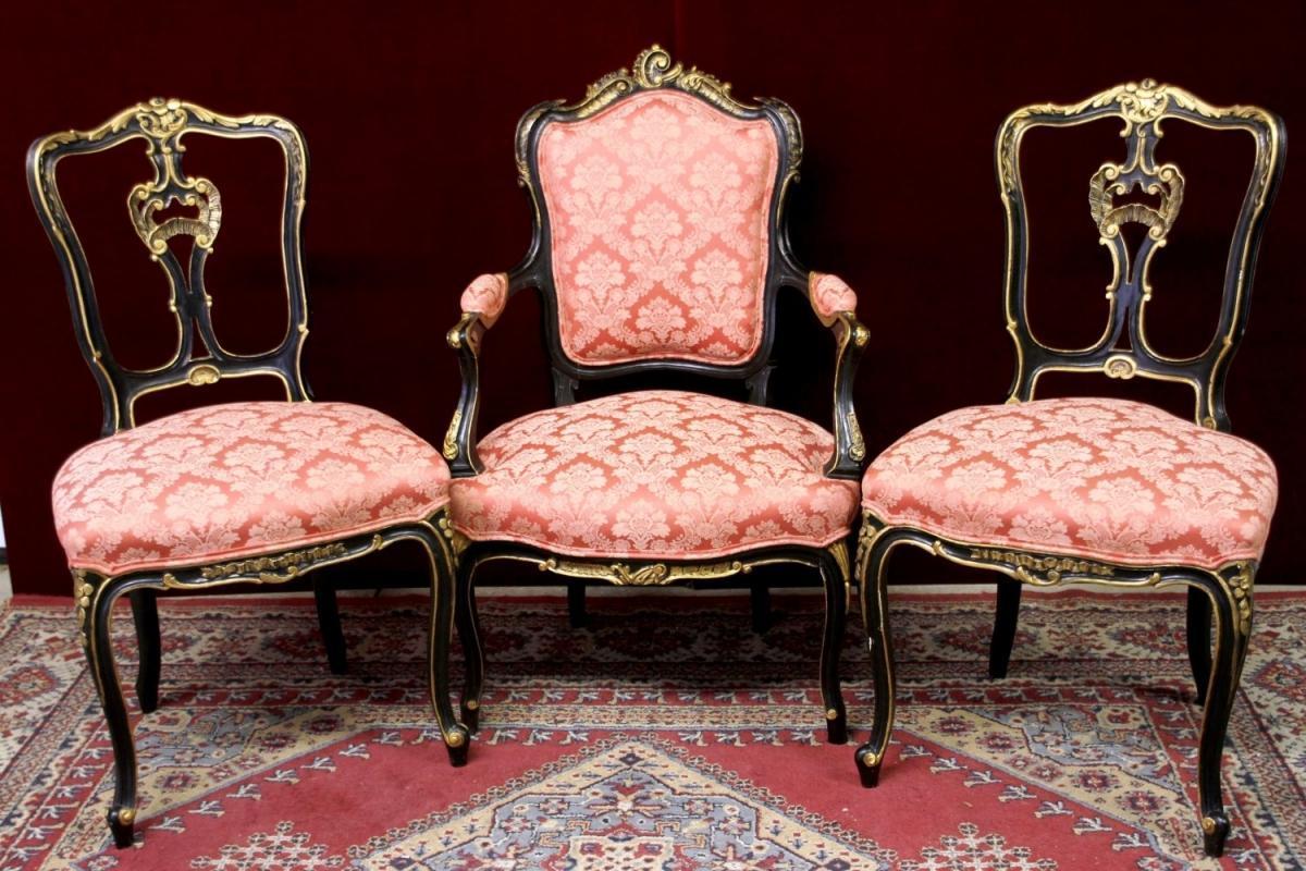 Louis xv salon set fauteuil arm chairs four pieces majestic for Salon louis 15