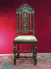 Antique Hand Carved Italian Renaissance Chair