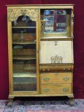 Victorian Secretary with Book Case and Mirror