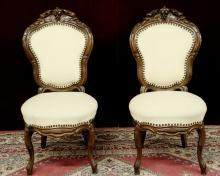 Pair Renaissance Revival Parlor Chairs Carved