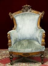 Revival Chair John Jelliff Style Oranate  Figurals