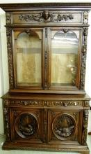 Antique Carved Griffin China Cabinet Hutch Rare
