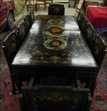 Asian  Black Lacquer Dinning Room Set  14 piece Hand Painted