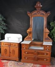 Antique Victorian Marble Drop Vanity and Washstand Set