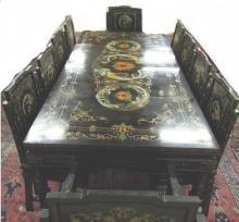 Asian  Black Lacquer Dinning Room Set  13 piece Hand Painted