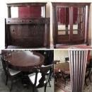 Antique Empire  Dining Room Table  Chairs Sideboard China Cabinet