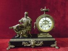 Antique Ansonia Philosophers Figural Mantle Clock Wind Up RARE TO FIND