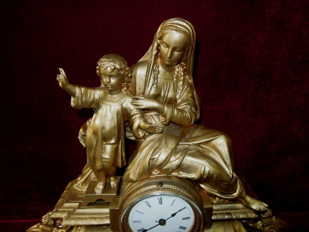 Antique Seth Thomas & Sons Madonna Jesus Mantel Figural Clock Rare to Find