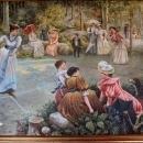 Oil Painting Women Tennis Theme Ornate Gold Frame