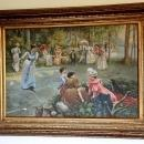 Oil Painting Women playing Tennis 19th  Century Theme Ornate Gold Frame