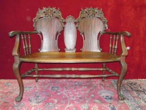 Horner Style Parlor Settee Rocking  & Chair Griffin Heads