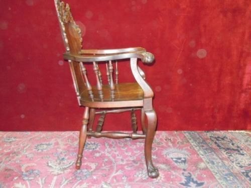 Stickley Style Parlor Settee  Rocking  and Accent Chair Griffin Heads