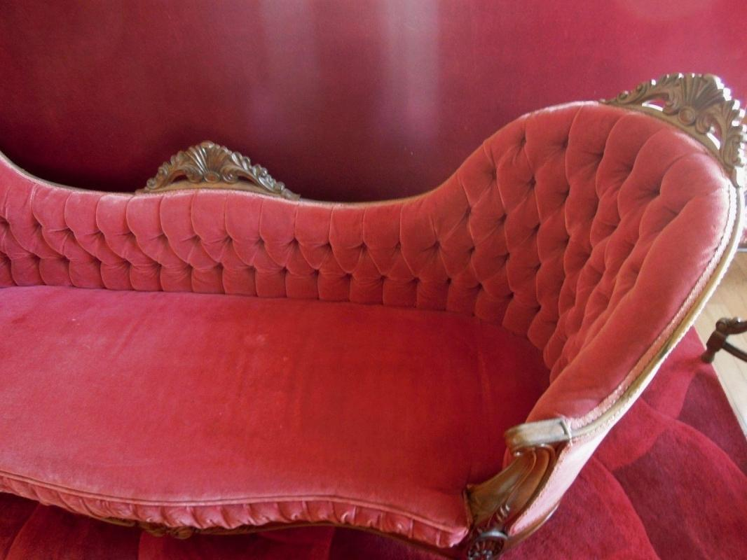 Rosewood  Rococo Settee  Burgundy Mohair Tufted Back