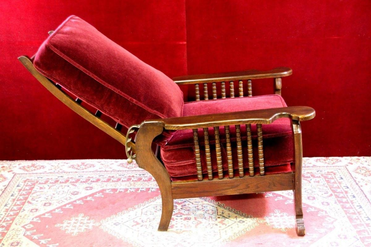 Antique Morris Reclining Chair Mahogany Mohair Fabric - Antiques, Art, Vintage