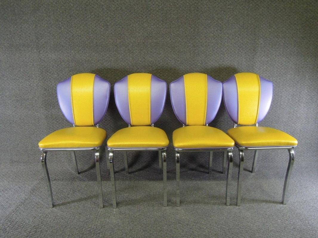 Vintage Chrome Dinette  Yellow Moon Glow Table  Lloyd Chairs New Fabric
