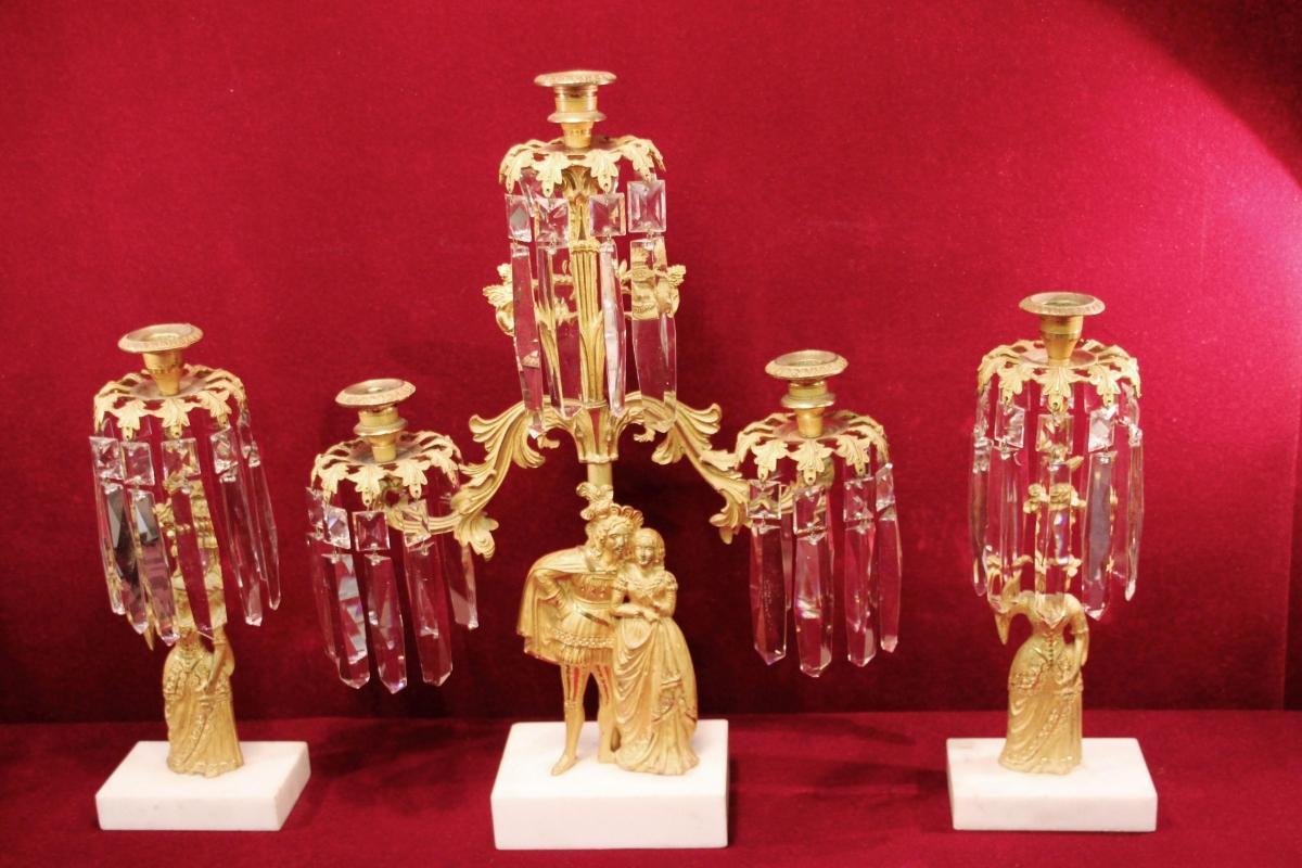 Antique Figural Candelabra Gilded Girandole Prisms Marble