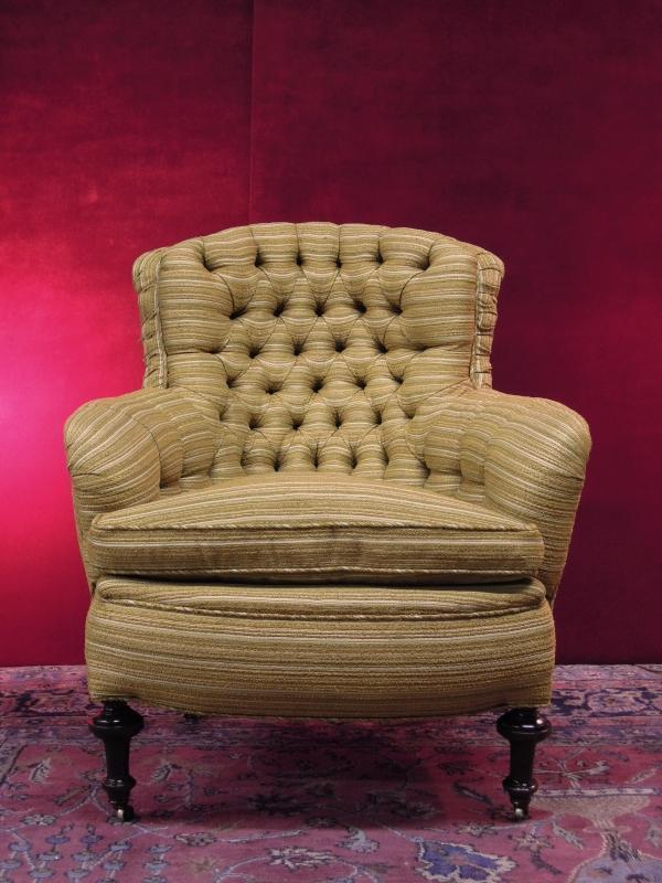 Vintage Turkish  Arm Chair Over Stuffed Tufted Beige Brown Gold Tone