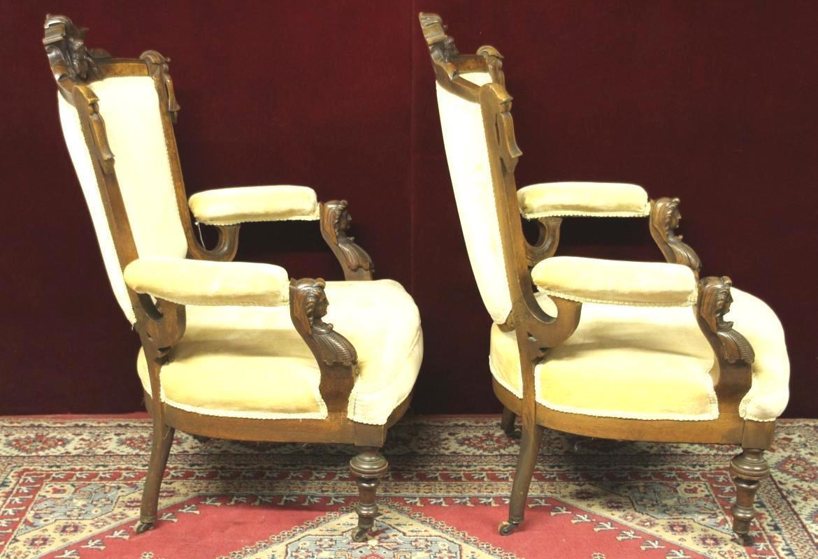 John Jelliff Style Chairs Figural Carved Heads Stunning