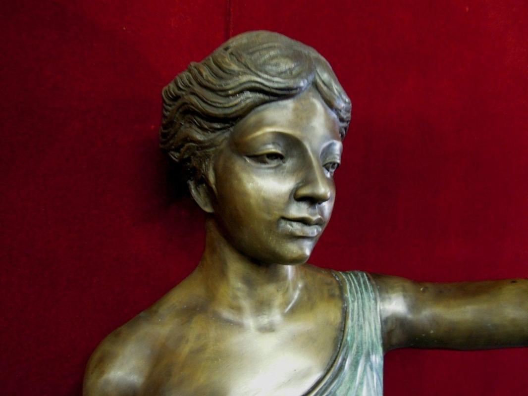 Bronze Roman Woman Floor Lamp Holding Light