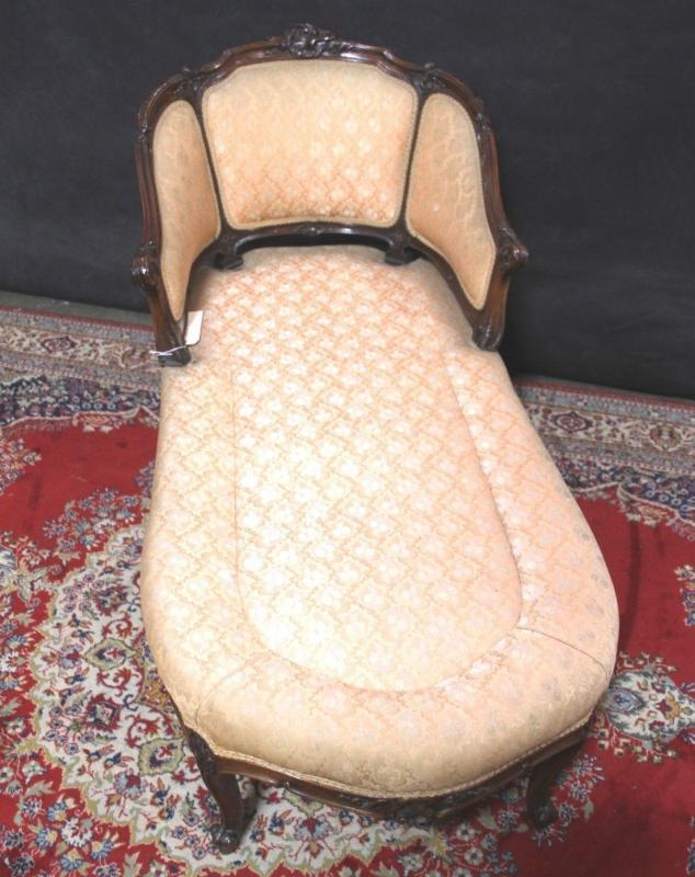 Louis XV  Chaise Lounge Carved Wood  Down Cushion