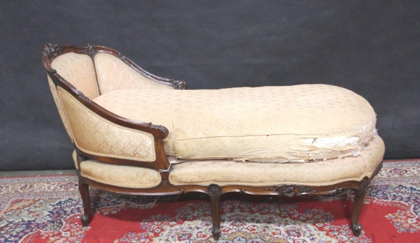 Louis XV French Style Chaise Lounge Carved Wood  Down Cushion
