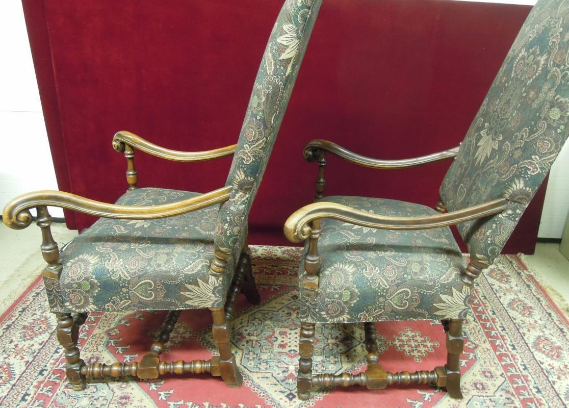 Renaissance Revival High Back Chairs Floral