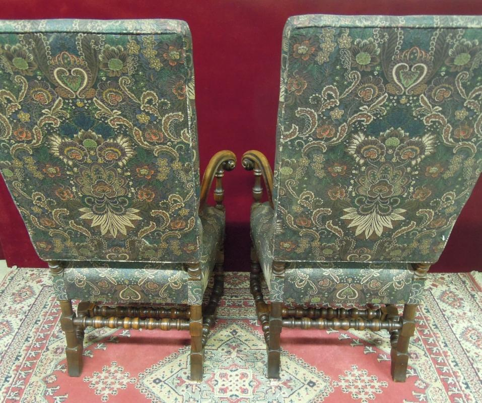 Renaissance Revival High Back Chairs Floral