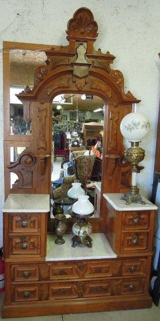 Antique Vanity With Mirror Marble Top