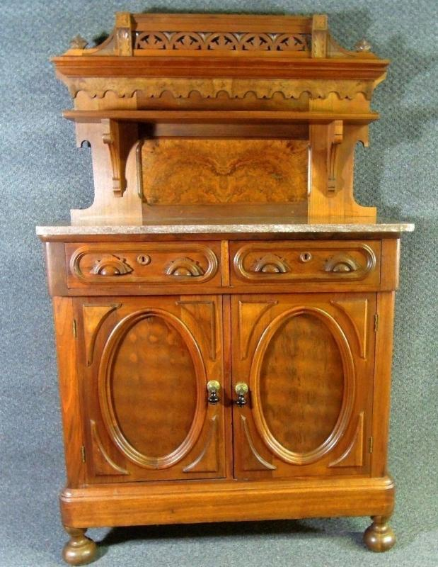 Antique  Sideboard Buffet Carved Marble Top