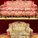 Figural Head Carved  Sofa and Chair Gimbels Rare