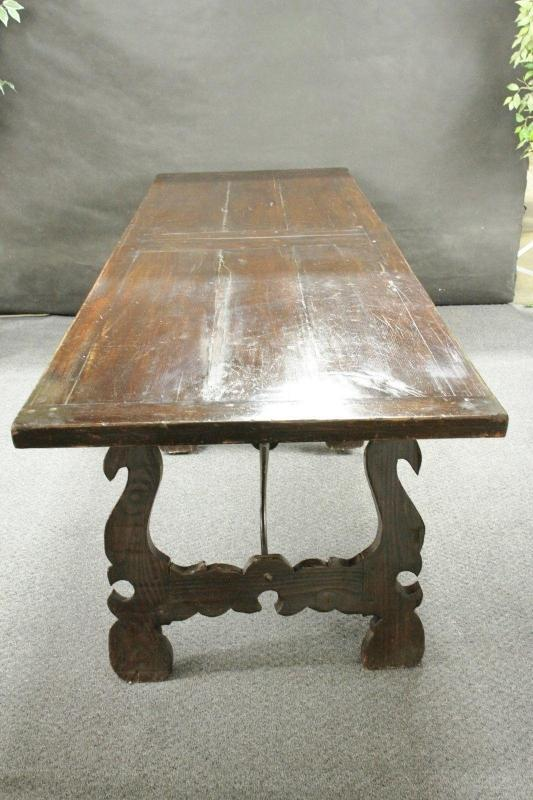 Antique Spanish Baroque Refectory Table Iron Scrolls Large Very Old