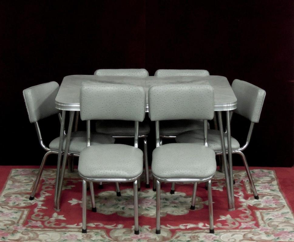 Chrome Dinette Gray Marbled Table Ostrich Pattern Chairs New Fabric