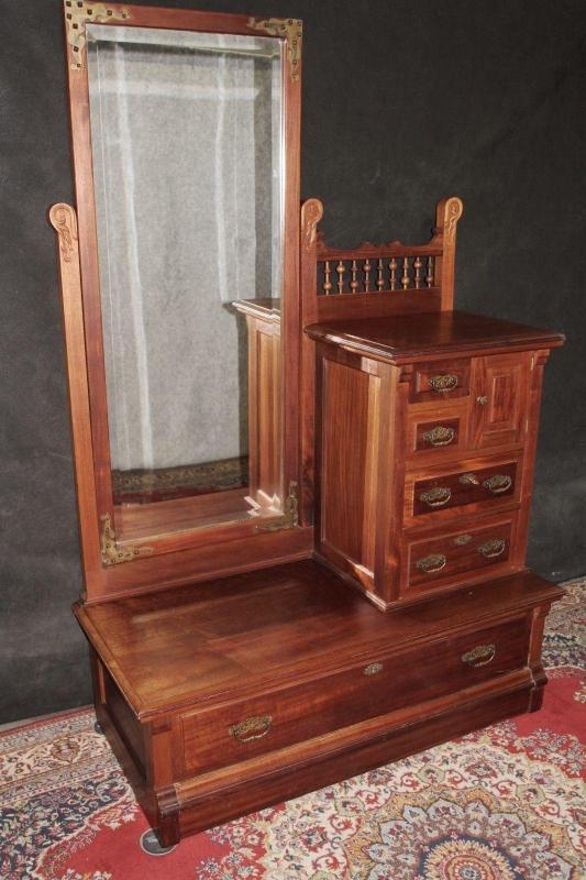 Antique Dresser Gentlemans Chest  With Mirror Walnut