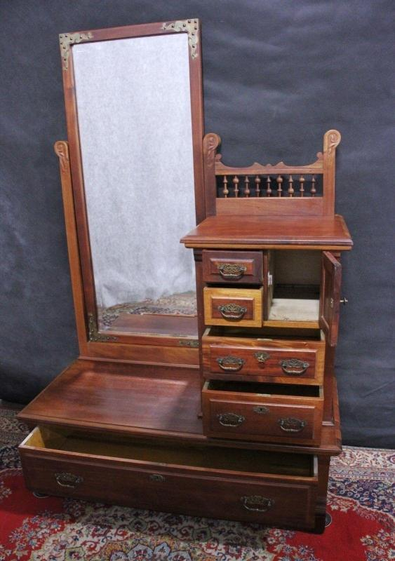 Antique  Gentlemans  Dresser Chest Mirror Walnut