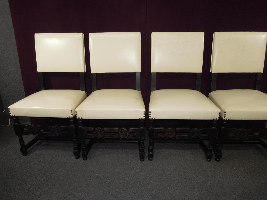 Antique French High Back Chairs Master Carved Arms Stretcher Side Six