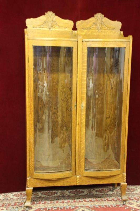 Antique  Hutch Double Bend Glass Doors Rare