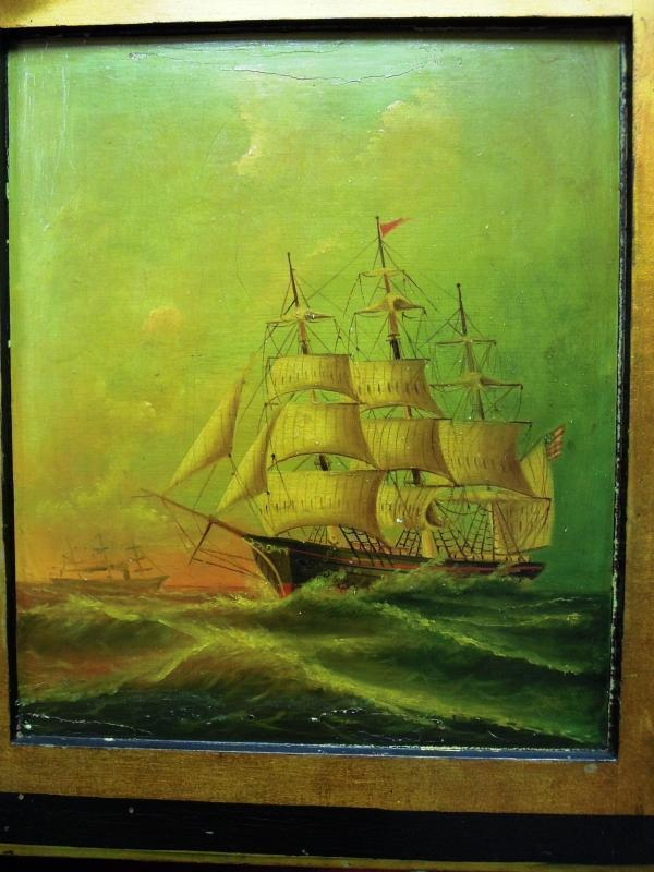 Antique Captains Sea Desk Nautical Painting  One of a Kind