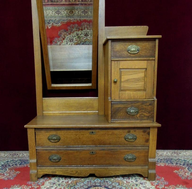 Antique Oak  Dresser Hatbox and Mirror