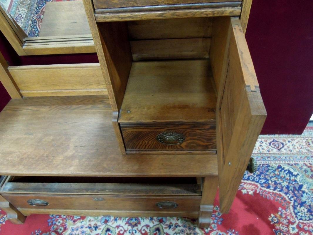 Antique Oak  Dresser Hatbox and Mirror